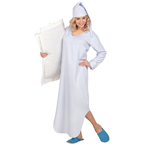 NET TOYS Nachthemd und Zipfelmütze Schlafmütze Kostüm Nachtkleid mit Schlafhaube Schlafrock Pyjamahemd