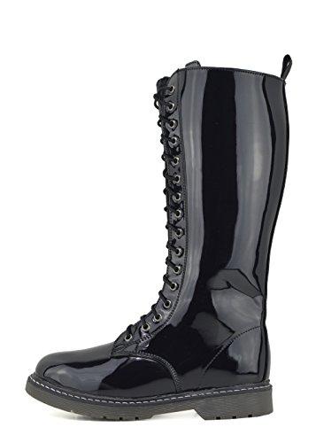 Femmes dhiver up lacets lace de de de de haute chaussure genou à Noir bottes bottes Verni longues rxBrw0pqn