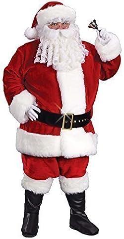 Pour Hommes Deluxe Plush Père Noël Père Noël avec Gants Costume Déguisement STD XL XXL - Rouge, XX-Large /