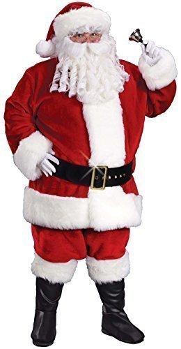 Herren Deluxe Plush Weihnachtsmann Weihnachtsmann mit Handschuhe Kostüm Kleid Outfit STD XL XXL - Rot, XX-Large / (Outfit Für Weihnachtsmann Männer)