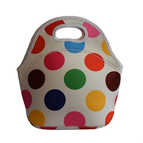 Borsa termica per il pranzo Borsa Pranzo Picnic Sacchetti Fiori gocce a pois, a righe tinta unita da donna borsetta per bambini e bambine Blue spots Colorful spots