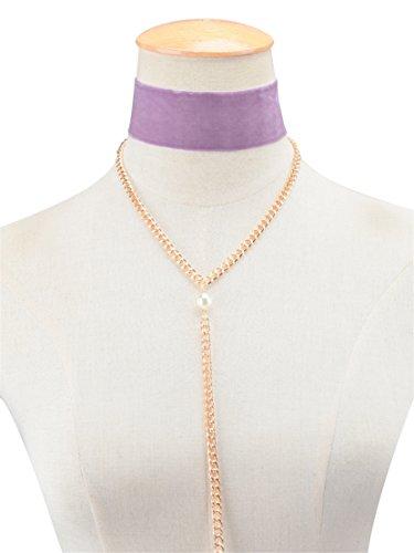 Jiayiqi Ruban Tour De Cou Collier Perle Mentale Y Colliers Pour Femmes Filles Purple