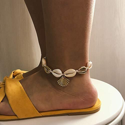 Gaddrt Fußkettchen Frauen Muschel Körper Fußkette Muschel Einstellbare Anhänger Schmuck (Gold)