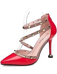 Xue Qiqi Noche rojo zapatos de tacón mujer con excelentes restaurantes y remaches versátiles sandalias de cuero...