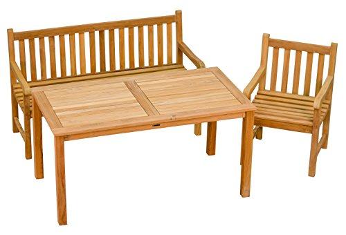 Sitzgruppe 3 Tlg. aus massivem Teakholz  1x Sessel + 1x Bank + 1x Tisch  Wetterfest  Nachhaltiges Plantagenholz  Klassisch geformte Balkon-Gruppe, Sitzgruppe aus Holz