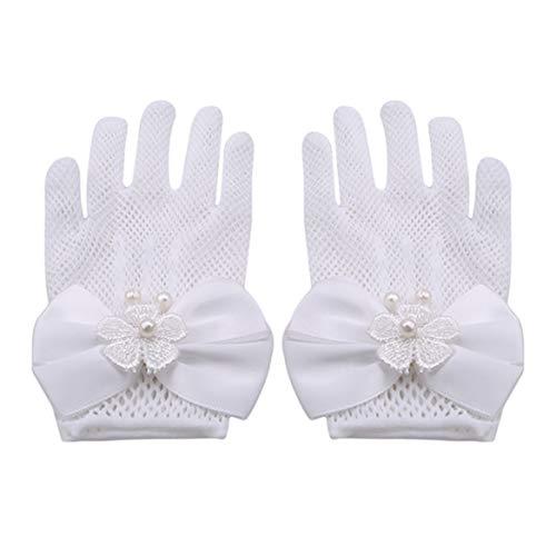 Beafavor Mädchen Kinder Weiß Spitze Faux Perle Fishnet Handschuhe Kommunion Blumenmädchen Braut Party Zubehör (Weiß)