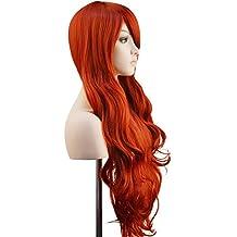 """Ambielly 32""""/ 80 cm De las mujeres Peluca Largo Rizado Ondulado Cabello Fiesta Cosplay Peluca pedazo de cabello Peluca (Vino rojo)"""