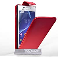 Yousave Accessories Sony Xperia M2 Tasche PU Leder Klapp Hülle rot