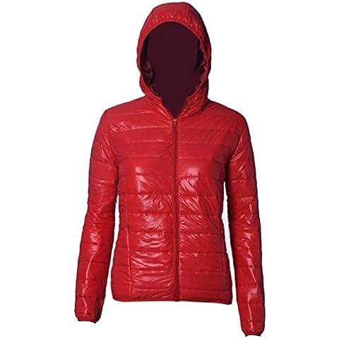 Koly Delgado caliente de invierno Color caramelo Slim mujer abajo chaqueta (Rojo, M)