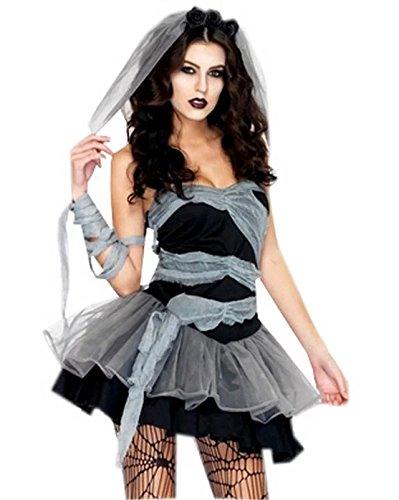 Fancyland Frauen Vampire Cosplay Geisterbraut Halloween Abendkleid Karneval Kostüm für Damen Einheitsgröße ()