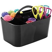 mDesign Porte-stylo noir pour les accessoires de bureau - Excellente alternative pour boîte à couture - Idéal pour pot à crayon ou boîte de pinceau - En plastique robuste