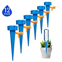 Yababllj 12Pcs Plant Watering Spike Self Plant Waterer with Control Valve Switch Irrigation System for Outdoor Home Office