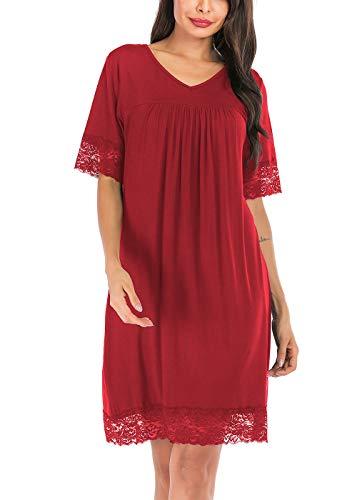 ABirdon Chemise de Nuit pour Femmes en Coton Chemise de Nuit col en V à Manches Courtes avec Bordure en Dentelle S-XXL, Red Wine, L