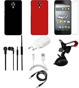 NIROSHA Tempered Glass Screen Guard Cover Case Charger Headphone Mobile Holder for Micromax Canvas Express 2 - Combo