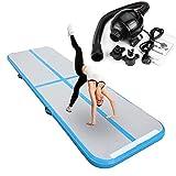 Binghotfire Aufblasbar Gymnastik Tumbling Matte Air Track Weichbodenmatte mit Europlug Elektrisch Luftpumpe für Zuhause, Cheerleading, Strand, Park und Wasser-inklusive Steuer 90X300X10CM