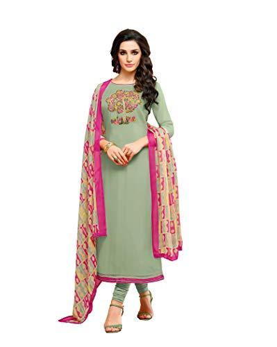 Oomph! Women\'s Unstitched Cotton blend Salwar Suit Dupatta Material - Mint Green (mfdm22_727)
