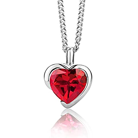 ByJoy 925 Heart Shaped Ruby Pendant on a Curb Chain