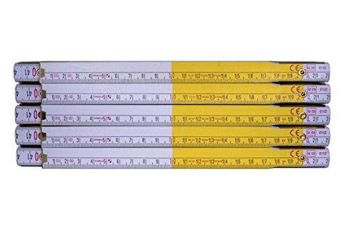 10 X Stabila Zollstock Holz Meterstab 2 m Meter Gelb Weiß Gliedermaßstab