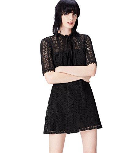 find. Kleid Damen aus Spitze mit Schluppe am Kragen Schwarz (Black), 38 (Herstellergröße: - Black Lace Kleid Kostüm