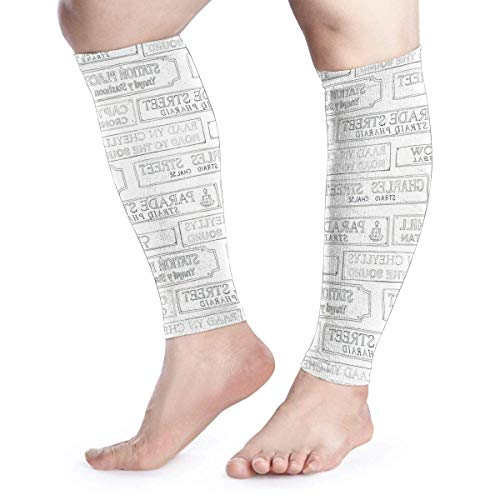 Street Road Signs White Cool Running Home Workout Sport Gym Gear Accessories Calf Compression Sleeve Leg Jobs Running Half Foot Guard Protective Supports Guards -