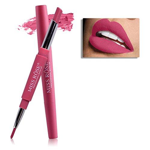 Honestyi Rouge à lèvres, 8 Couleurs Double-Fin Ligneur Durable Crayon à lèvres imperméable à l'eau Brillant à lèvres Multi-Fonctions (Rouge # 3)