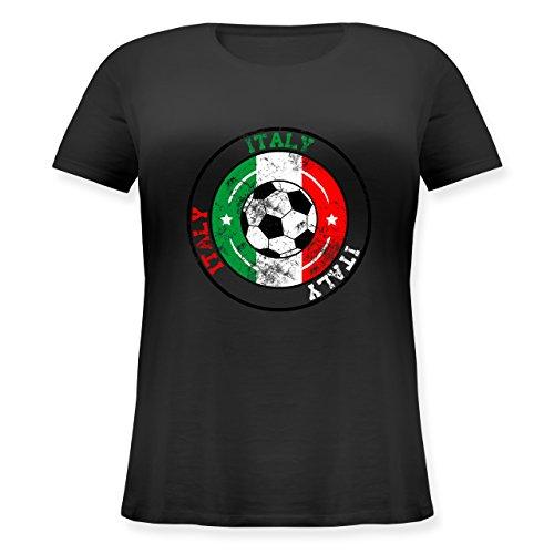 EM 2016 - Frankreich - Italy Kreis & Fußball Vintage - Lockeres Damen-Shirt in großen Größen mit Rundhalsausschnitt Schwarz