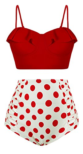 EasyMy Frauen Vintage Hohe Taille Polka Dot Bottom Bikini Set Strap Push Up Badeanzug (Bikini-badeanzug Dot Polka)
