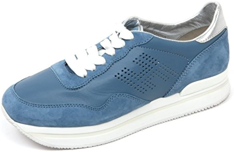 e5b2eef5b185 C8106 scarpe da ginnastica donna HOGAN H222 scarpa H forata azzurro scuro  scarpe woman | Ad