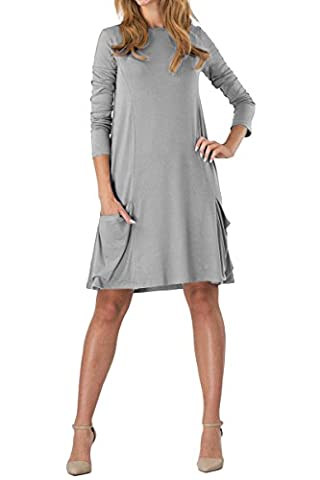 YMING Femme Robe Manches longues Casual Tunique avec Poche Style