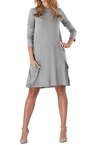 YMING Damen Kleid Langarm mit Taschen Kleid Lose T-Shirt Kleid Rundhals Casual Tunika Midi Kleid,Hell Grau,M/DE 38-40