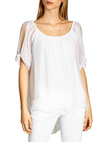 CASPAR BLU020 Lange leichte Elegante Damen Sommer Bluse Seidenbluse, Farbe:Weiss;Größe:S/M -