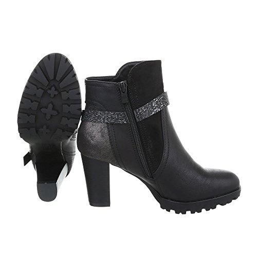 Ital-design Stivaletti Tacco Alto Scarpe Da Donna Slip Boots Pump Moderni Zipper Stivaletti Neri 2041-
