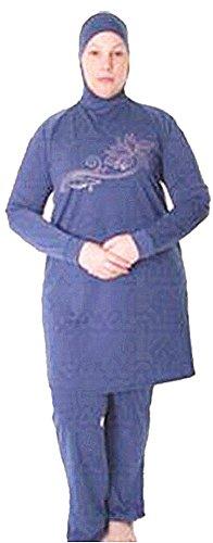 YEESAM Muslimischen Badeanzug - Muslim Islamischen Bescheidene Badebekleidung Modest Swimwear Beachwear Burkini für muslimische frauen Blau
