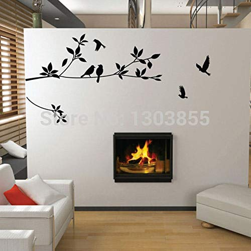 FGHTE WandaufkleberSchwarze Vögel fliegen Blätter Baum Wandaufkleber Vinyl Kunst Aufkleber Wandhauptdekor WN-in Wandaufkleber -