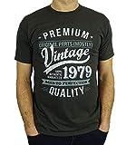 1979 Vintage Year - Aged To Perfection - 40 Geburtstag geschenk T-Shirt fr Mnner Holzkohle Grau XL
