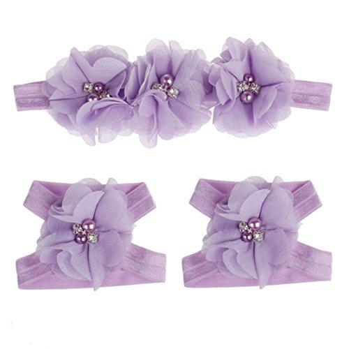 ume barfuss Sandalen + Stirnband Set Baby Kleinkinder Mädchen Haarreifen (lila) ()