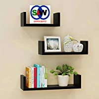 SAW Saqib ali wooden handicrafts U Shaped Wall Rack Shelves for Living Room Decoration (4*16*4)(4*12*4)(4*8*4) inches…