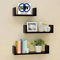 SAW SAQIB ALI WOODEN HANDICRAFTS Engineered Wood Glossy U Shaped Wall Rack Shelves for Living Room Decoration (Black…