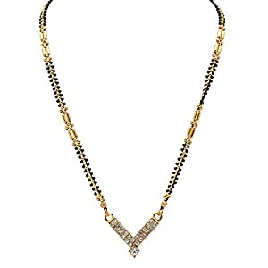 Arafa Jewellery Black and Gold Line Chain with Capsule and Australian Gold Polished Pendant 9 inch Mangalsutra for Women