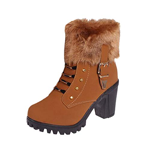 Yazidan Mode Frau Hoher Absatz Halb kurz Knöchel Stiefel Winter Warm Absätze Boot Schuhe Damen Funkeln Peep-Pumpen Plattform Stilett Sandalen Hochzeit Party Kleid Sexy Spitze Zehen(Braun,UK:3.5)