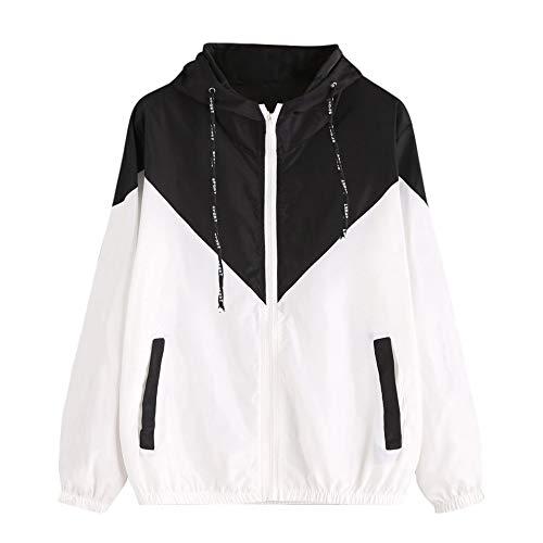 TianWlio Damen Jacke Frauen Langarm Patchwork dünne Skinsuits mit Kapuze Reißverschluss Taschen Sport Mantel