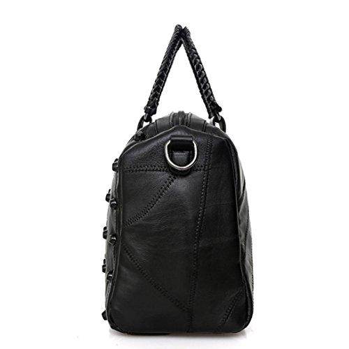 Handtaschen Umhängetasche Frau Leder Beutel Beutel Schulter Handtaschen Frauen beiläufige B Schwarz Damen Huhu833 Hwq4gg