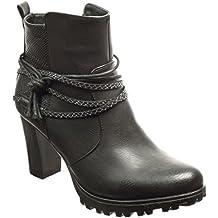 Angkorly - Zapatillas Moda Botines low boots plataforma mujer piel de serpiente tanga Talón Tacón ancho alto 8 CM - plantilla Forrada de Piel
