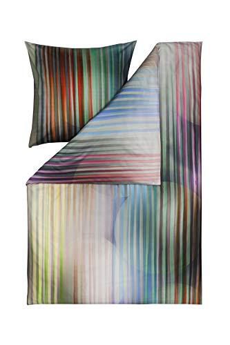 Estella Mako Satin Bettwäsche Impulse Ombre Farbe Multicolor Bunt Streifen Kreise, 135x200 cm 80x80 cm 100% Baumwolle -