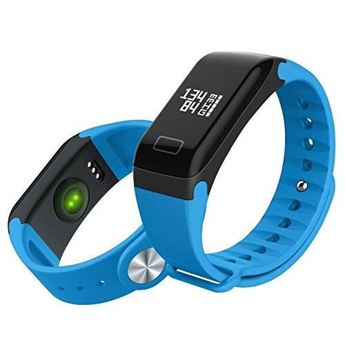 MYXMY Smart Schlaf Überwachung wasserdicht Meter Schritt Test Blutdruck Herzfrequenz Smart Armband Männer und Frauen Sport Erinnerung Uhr (Farbe : Blau)