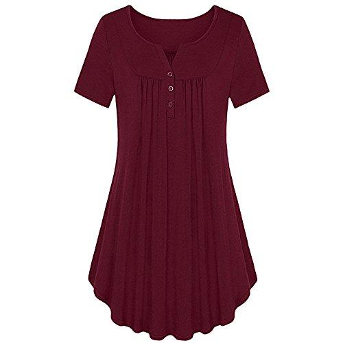 Reihe Falten Rüschen Geraffte Oansatz Kurzarm Unregelmäßige T-Shirt (M, Rot) ()