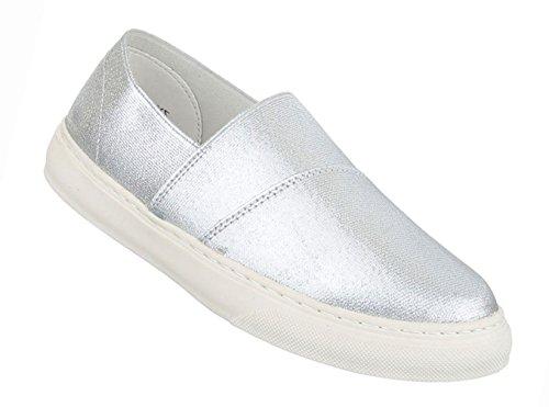 Damen Schuhe Halbschuhe Slipper Freizeitschuhe Schwarz Silber