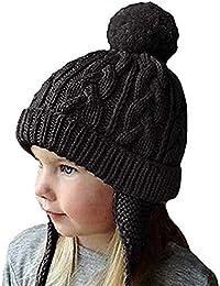 Bonnet Chapeau Enfant Bébé Hiver Bonnets Tricoté Fille Garçon Respirant  Doux Beanie Hats avec Torsades Tresse 246f049c287