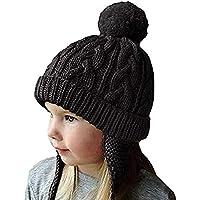 Bonnet Chapeau Enfant Bébé Hiver Bonnets Tricoté Fille Garçon Respirant  Doux Beanie Hats avec Torsades Tresse 9ee3a325a8e