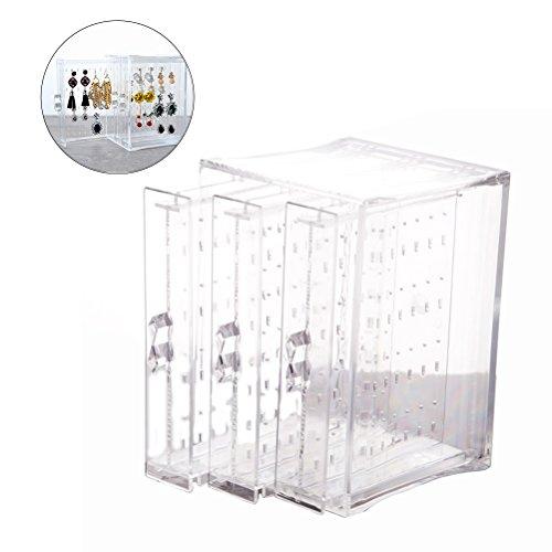 Luoem - Expositor y caja de almacenaje de pendientes, acrílico, con 3 cajones verticales, regalo para mujer